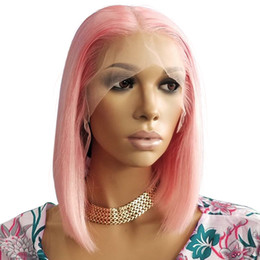 pink full lace human hair wigs Coupons - Pink Lace Front Wigs Human Hair Brazilian Virgin 130 Density Lacefront Straight Glueless Pink Full Lace Human Hair Bob Wig Pre Plucked