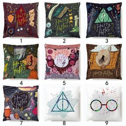 cappelli di harry potter Sconti Harry Potter Pillow Case Occhiali Cappello Libro Star Magic Bacchetta stampa Cuscino decorazione della stanza Cuscino Decor LJJK1772