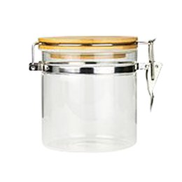 Стеклянные бутылки крышки банки онлайн-1PC Bamboo Lid Glass Stainless Steel Lock Catch Airtight Canister Storage Bottles Jars Grains Leaf Coffee Beans Candy Jar