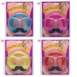óculos de truque Desconto Ferramentas 4styles Óculos Barba Straw Óculos Pipeta Decoração Acessórios aniversário foto adereços presente do partido FFA3008 favor truque brinquedo