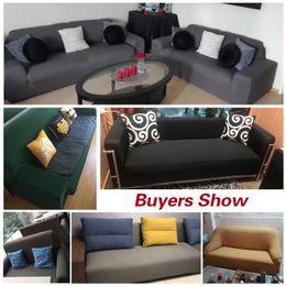 Sofás cinza sala de estar on-line-Grey Elastic Sofa Cover Cotton All-inclusive Stretch Slipcover Couch Cover Sofa Towel Sofa Cover for Living Room copridivano