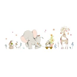 Carta da parati di fumetti giraffa online-Cartoon Forest Flower Elephant Giraffa Giraffa Animal Wall Stickers Camera dei bambini Decor Vinyl Wallpaper Baby Bedroom Stickers murali