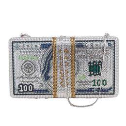 Diamantes de dinero online-Nuevo Crystal Money Bag Design Dollar Luxury Diamond Night Bag Party Bag Clutch Sc992