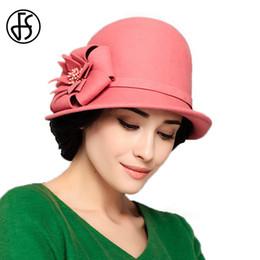 широкая красно-красная фишка Скидка FS 100% Australia Wool Ladies Felt Hat With Flower Royal Wide Brim Fedora Red Pink  Hat Women Elegant Floppy Cloche Hats