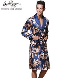09f29c0c3e Luxury Chinese King Dragon Men Robe Home Clothing Silky Long Bathrobe Brand  Faux Silk Long Male Sleep Robe L-3XL Robes WP032 C18122801