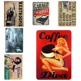 signs for cars Coupons - Vintage Metal Tin Signs For Wall Decor Cars Motorcycles Iron Paintings 20*30cm Metal Signs Tin Plate Pub Bar Garage Home Decoration