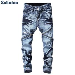 Krawatte jeans blau online-Gerade geschnittene, gerade geschnittene Jeans für Männer mit Krawatte und Farbstoff Trendy plus size Löcher, gerissene Jeans im Used-Look Blue Grey Schwarz