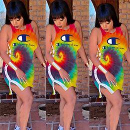 2019 pulsanti coloranti Donne Champion Desinger Dress Colorato Tie Dye Sleevesless Buttons Split Mini Gonna Ladies Brand Bodycon Abiti Party Dress Abbigliamento C62807 pulsanti coloranti economici