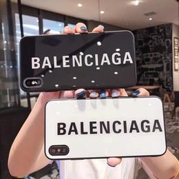 2019 cuero elephone Para iPhone Xs max XR 8 6 6S 7 plus letras de vidrio funda de diseñador Lujo 9H Dureza Vidrio templado Brillante Marca de teléfono Contraportada A02