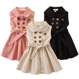 Meninas double breasted vestidos on-line-Meninas crianças vestido sem mangas 3 Designs Sólidos Abotoamento vestido Crianças figurinista Girls Dress Verão 1-6T 04