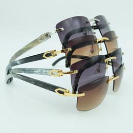 occhiali da sole firmati originali Sconti Occhiali da sole quadrati Uomo screziato autentico corno di bufalo Mens Luxury Brand Designer Occhiali da sole Vintage Festival Carter Buffs Occhiali da sole