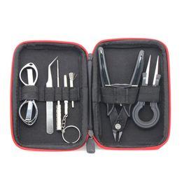 rda e cig kits Promotion Électronique 9 en 1 Cigarette DIY Kit Outil Bobine Jig Brucelles Pinces pour RDA RDTA RTA E Cig Accessoires Vape Sac Enroulement Kit