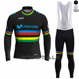 Kit térmico de invierno online-Movistar Team Winter Ciclismo Thermal Fleece Jacket Maillot Custom Cycling Jersey Tops Use Kit Ropa Bicicleta Ropa Uniforme