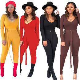2019 clube de jumper sexy Mulheres sexy Jumper Jumpsuits macacãozinho V Sólidos Long Neck Sleeve Alças magro Legging longas Catsuits Clube Bodycon Bodysuits desconto clube de jumper sexy