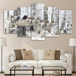 2020 fotos de lobo gratis 5 pieza lobos Pantalla nieve del bosque Grupo animal de la impresión de la lona Pintura pared del sitio de Cuadros para estar envío fotos de lobo gratis baratos