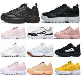 with socksFILADesigner Triple white black pink Women and men special section Jogging sports sneaker increased running shoes 35 45