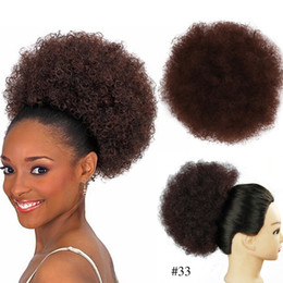 2019 peças de cabelo curto sintéticas Synthetic cabelo Chignon Bun Afro Kinky Curly cordão clipe curto cabelo Pieces Bolo no Diâmetro 8Inch Coque afro peruca PUFF rabo de cavalo peças de cabelo curto sintéticas barato