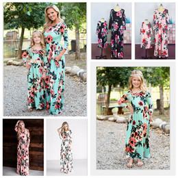 família, vestido, alikes, mãe, filha Desconto INS Múmia Vestido Floral Do Bebê Bohemian Matching Vestido Meninas Maxi Vestidos Mãe Filha Vestido Boho Família Vestidos de Festa AAA2070