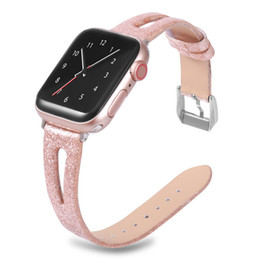 Блестящая полоса онлайн-Блестящий блеск из натуральной кожи Bling Band наручные часы браслет ремешок для Apple Watch 4 3 2 1 38MM 42mm 44mm 40mm