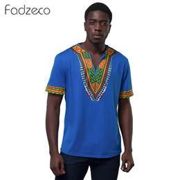ropa de impresión tribal Rebajas Hombres Dashiki Camiseta Con Cuello En V Impreso Africano Estilo Étnico Camiseta Ocasional Tribal de Manga Corta Clásico de Verano Tops Ropa Africana
