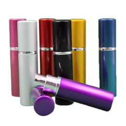 Rolha de perfume on-line-Frasco de perfume 5 ml de Alumínio Anodizado Compacto Frascos de perfume Aftershave Atomizador Atomizador fragrância de vidro perfume-garrafa rolhas de cor Mista