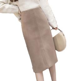 8 Fotos Compra Online Faja delantera-Frente Coreano Falda de Lana de Split  Mujeres Elegante 2018 Otoño 0aaeab3e7423