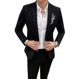 esmoquin para hombre xxl Rebajas para hombre otoño smoking de la chaqueta del traje bordado diseño delgado Terno Masculino hombres tamaño asiático chaqueta S M L XL XXL XXXL