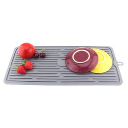 square sinks Coupons - Square Silicone Drain Pad Kitchen Fruit Vegetable Cutlery Draining Pan Bar Glass Rack Sink Filter