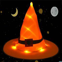 Batterie im freien hängen licht online-BRELONG Hexenhut hängend beleuchtet leuchtende Lichter String Halloween Dekoration im Freien Batteriebetrieb für Outdoor Yard Tree, Dekorationen