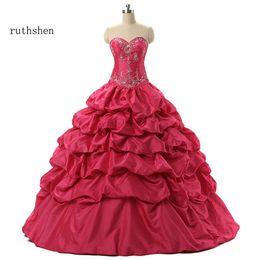 Venta al por mayor Hot Pink Debutante Sweet 16 Girls Masquerade vestidos de bola bordado de lentejuelas Vestidos De 15 Anos Quinceanera desde fabricantes