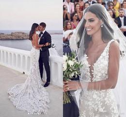 Vestidos de noiva sem trombeta on-line-Sereia sem encosto praia vestidos de noiva 2019 com decote em v 3d lace applique varredura trompete steven khalil jardim nupcial do vestido de casamento