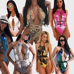 2019 senhoras trajes de banho de volta Verão brilhante senhoras sexy de volta aberta multi cores lace-up lantejoulas one piece-swimsuit oco feminino beachwear biquíni