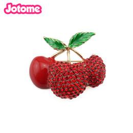 Deutschland Korea Stil Frucht Rot Emaille Herz Kirsche Form Brosche Legierung rot Strass Doppel Kirsche Marke Broschen Pin cheap brooch korea style Versorgung