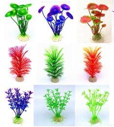 Le piante dei pesci online-30 disegni acquario artificiale piante arredamento acquario serbatoio di plastica artificiale pianta colori assortiti falso acquario decorazioni
