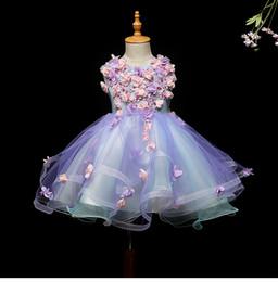 Vestidos de noche para niños online-2019 fotos reales vestidos de niñas de flores púrpuras para bodas Fiesta de bebés Niños atractivos vestido del desfile de niños Vestidos de baile Vestidos de noche