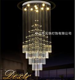 2019 long lustre d'escalier Tubor nouveau lustre en cristal LED allume long escalier escalier intérieur cystal lustre hall de l'hôtel appareils d'éclairage AC110-220V long lustre d'escalier pas cher
