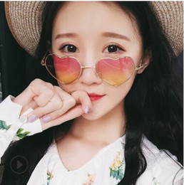 lentes de pelicula de color Rebajas Gafas de sol para mujer Retro Corazón salvaje Gafas de sol con forma de corazón Película oceánica Lente transparente Protección UV Gafas de sol Revestimiento reflectante Gafas