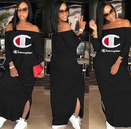 Kleider verkappte schultern online-Champions Women Casual Dresses Heiße Verkäufe Stilvolles Sommerkleid Schulterfrei Mantel / Spalte Flügelärmeln Bodenlangen Druck Split Plus Size