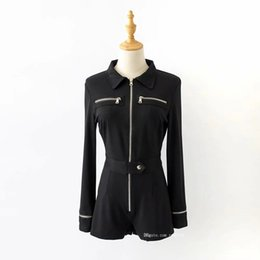 02a86e17a39e Hot Women Black Long Sleeve Buttons Rompers Womens Jumpsuit 2019 Casual One-pieces  Bodysuits zipper long sleeve jumpsuit
