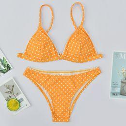 Biquíni de banho de laranja on-line-Orange Dot Bikinis 2019 Mujer Banhistas Empurrar Para Cima Sexy Swimsuit Mulheres Verão Maiô Tanga Swimwear Feminino Bikini Brasileno