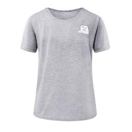 Gato simples on-line-2019 Nova moda Casual Verão Casal Simples Tops Pulôver de Manga Curta O Pescoço Bolso Gato Impressão T-shirt
