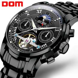 Стальной дом онлайн-DOM Brand Men Часы автоматические механические часы Tourbillon Спортивные часы Black Steel Повседневный Бизнес ретро наручные часы M-75BK-1mh
