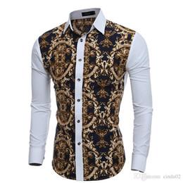 2020 camisa de vestir grande para hombre Grandes estampados florales vintage Camisas de vestir para hombre Camisa social casual de manga larga Slim Fit para hombre Chemise rebajas camisa de vestir grande para hombre