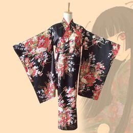 Argentina Mujeres Japonés Kimono Traditionoal Chica Geisha Chica Cospaly Hell Cherry Impreso Kimono Anime Ai Cosplay Disfraz Para Hembras cheap kimonos geishas Suministro