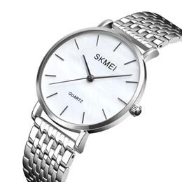 2019 женские часы дизайн браслет стиль SKMEi Ladies Fashion Stainless Steel Ultra-Thin Silver Strap Analog Quartz Watch Simple Style Design Bracelet Watch Ladies Clo дешево женские часы дизайн браслет стиль