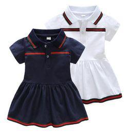 Летнее платье для девочек с коротким рукавом Классическое платье из хлопка Платья принцесс Детская детская одежда от