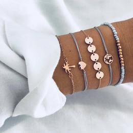 Perles aqua en gros en Ligne-Bracelet 5 pieces   suit woman fashion gold silver beach party summer fashion jewelry popular heart letter love beads wholesale