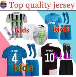 Pullover per calcio di calcio online-2019 2020 quarta RONALDO PALACE Juventus Soccer Jersey 19 20 JUVE Home Kids Kit de Ligt Dybala HIGUAIN BUFFON Futbol Maillot Football Shirt