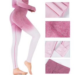 2019 леггинсы ноги бесплатно Woman Slim Quick Dry Fitness Leggings Women Compression Push Up Leggins Clothing Workout Gradient Printing Trousers for Female