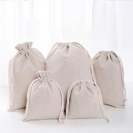 Borse da regalo in lino online-Sacchetti di lino con coulisse Sacchetti riutilizzabili Shopping Bag Bomboniere Bomboniere Sacco di cotone Confezioni regalo Borse di stoccaggio DHL WX9-1488